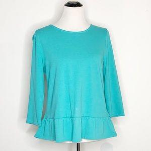 Talbots Petites Turquoise Peplum Pullover